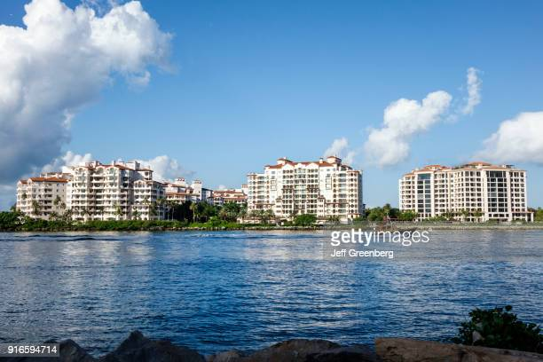 The exterior of buildings at the millionaires enclave on Fisher Island