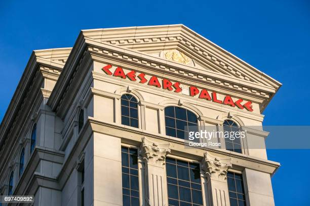 """The exterior of Caesars Palace Hotel & Casino is viewed on May 29, 2017 in Las Vegas, Nevada. Tourism in America's """"Sin City"""" has, within the past..."""
