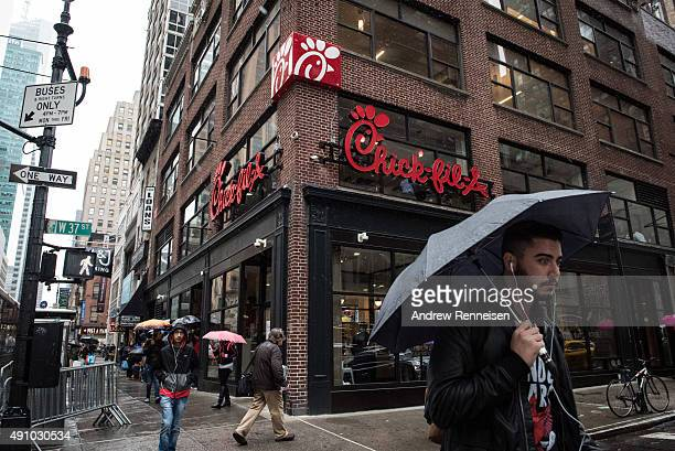 The exterior of ChickFilA a day before its opening on 37th Street and 6th Avenue on October 2 2015 in New York City The fast food chicken restaurant...