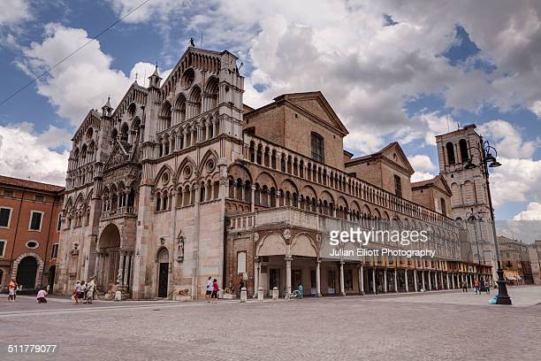 The exterior of Duomo di Ferrara, Italy