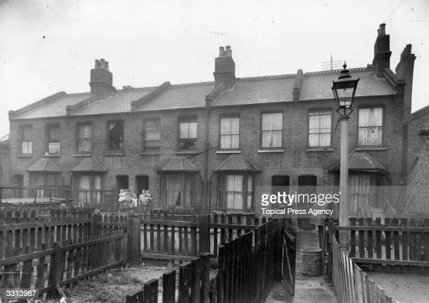 The exterior of houses in a slum area in Bethnal Green east London