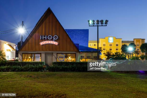 The exterior of IHOP in Kissimmee at night