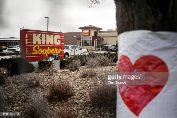 The exterior of King Sooper's grocery store is seen the morning after a gunman opened fire on March 23, 2021 in Boulder, Colorado. Ten people were...