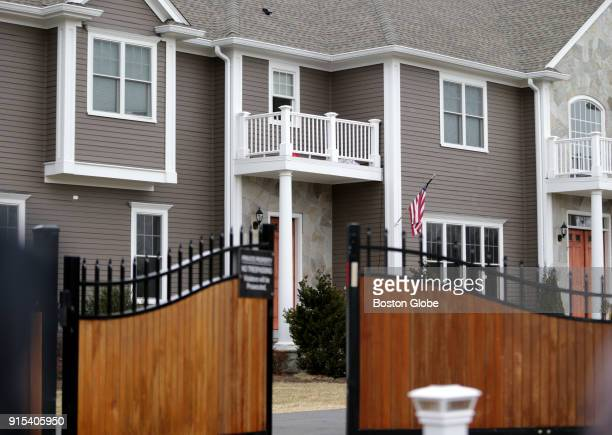 The exterior of New England Patriots player Rob Gronkowski's home in Foxborough MA is pictured on Feb 6 2018 Gronkowskis home was broken into while...