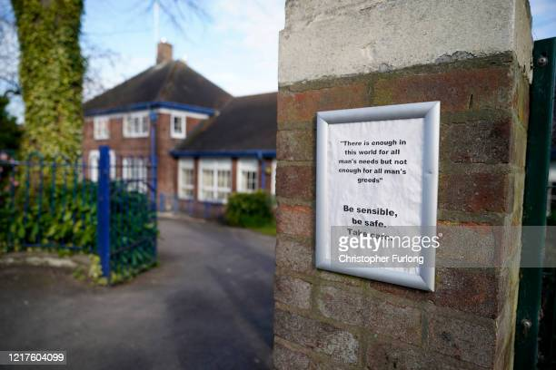 The exterior of Oldfield Brow Primary School as children of key workers take part in school activities on April 08 2020 in Altrincham England The...