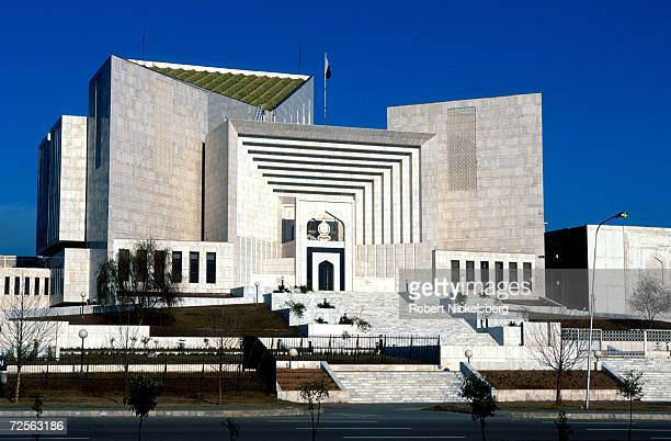 The exterior of Pakistan's Supreme Court gleams with white marble February 2000 in Islamabad Pakistan