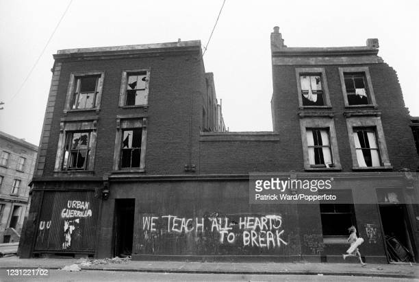 The exterior of slum housing in the notorious Gorbals district of Glasgow, circa 1969. These tenement buildings have since been demolished.