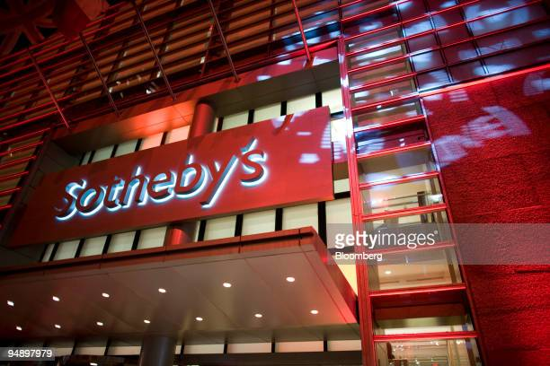 The exterior of Sotheby's Auction House is seen during the Sotheby's New York auction in New York US on Thursday Feb 14 2008 Damien Hirst's...