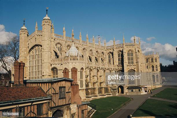 The exterior of St George's chapel, Windsor Castle, Berkshire, circa 1968. The chapel has been the site of many royal weddings.