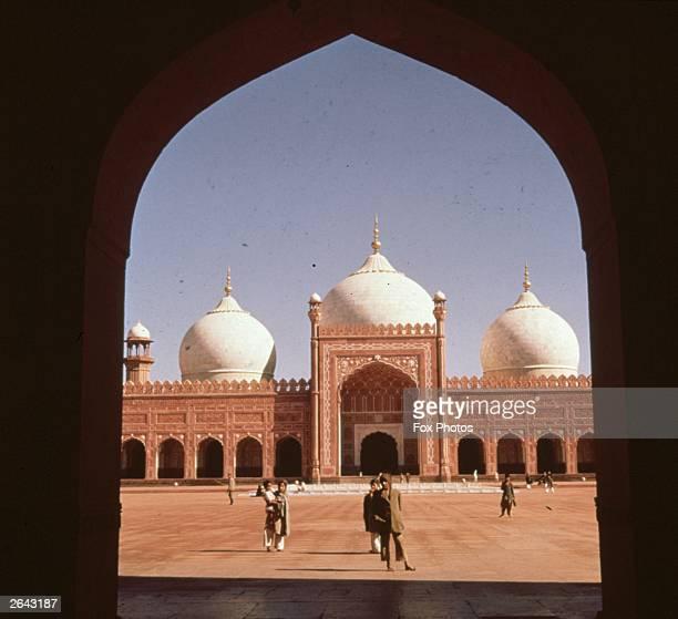 The exterior of the Badshahi Mosque in Lahore, Pakistan.