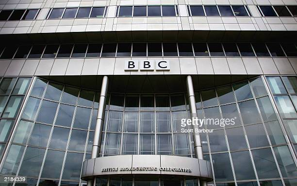 The exterior of the BBC building is seen at their Shepherds Bush headquaters July 22 2003 in London The BBC is preparing to defend its correspondent...