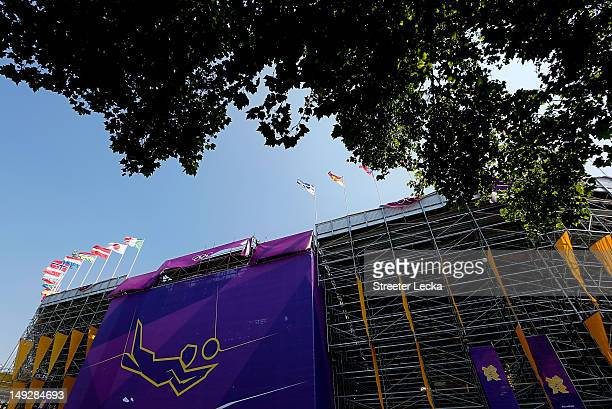 The exterior of the beach volleyball arena during a beach volleyball practice session ahead of the London 2012 Olympics at Horse Guards Parade on...