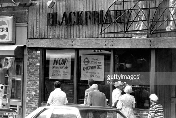 The exterior of the Blackfriars lounge at 105 Summer St. In Boston, where the bodies of five men were found in the basement office, is pictured on...