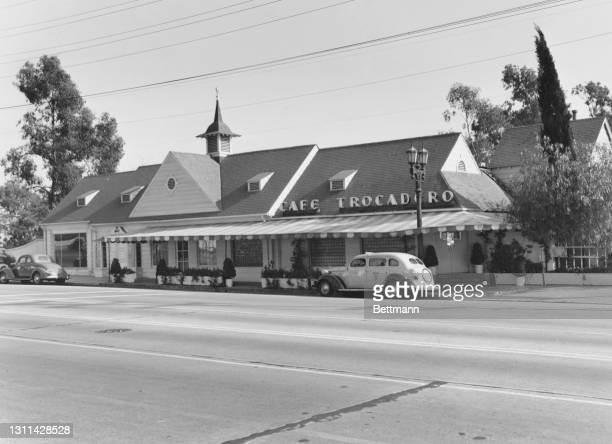 The exterior of the 'Cafe Trocadero', a nightclub on Sunset Strip, a stretch of Sunset Boulevard, in West Hollywood, California, November 1937.