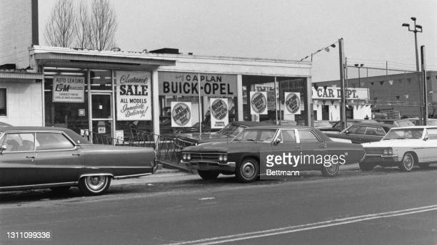 The exterior of the Caplan Buick-Opel dealership in the borough of Brooklyn, New York City, New York, 20th January 1970. The dealership is allegedly...
