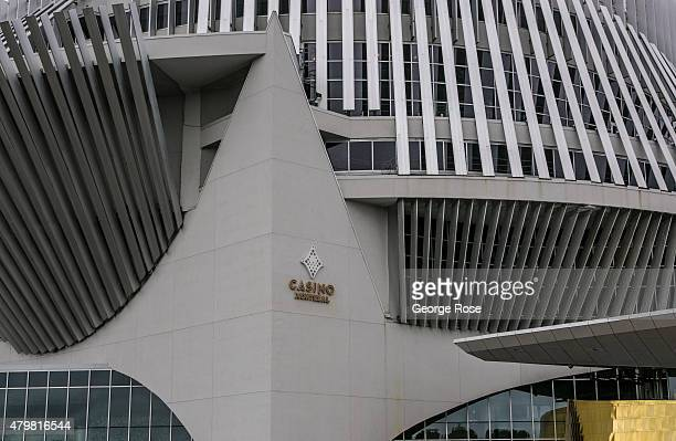 The exterior of the Casino of Montreal located on an island next to the Olympic rowing basin is viewed on June 28 2015 in Montreal Quebec Canada...
