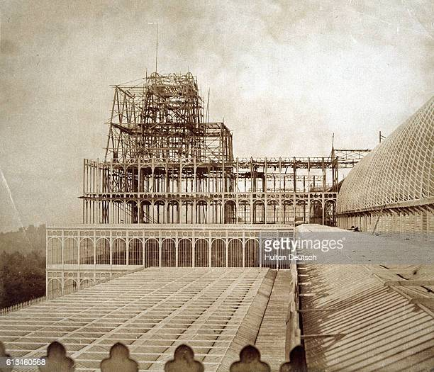 The exterior of the centre transept seen during the construction of the Crystal Palace built for the Great Exhibition of 1851 Originally in Hyde Park...