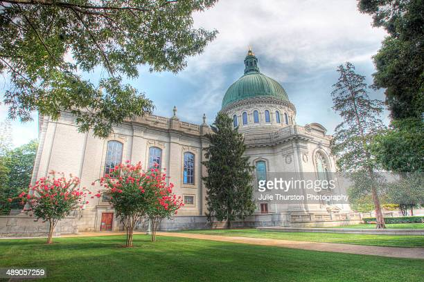 The Exterior of the Chapel and Dome at the United States Naval Academy in Spring Located in Annapolis Maryland