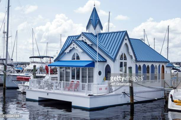 The exterior of the Chapel on the Bay at Regatta Pointe Marina.