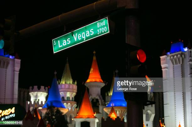 The exterior of the Excalibur Hotel Casino is viewed from Las Vegas Blvd on December 19 2018 in Las Vegas Nevada During the Christmas and New Year...