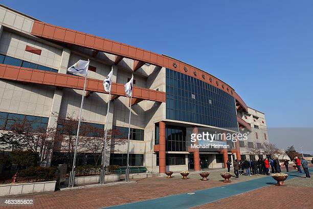 The exterior of the Gangneung Curling Centre is seen in the Gangneung Sports Complex on February 11 2015 located in the coastal cluster of...