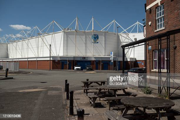 The exterior of the Halliwell Jones Stadium the home ground of the rugby league side Warrington Wolves in Warrington northern England on May 14 2020...