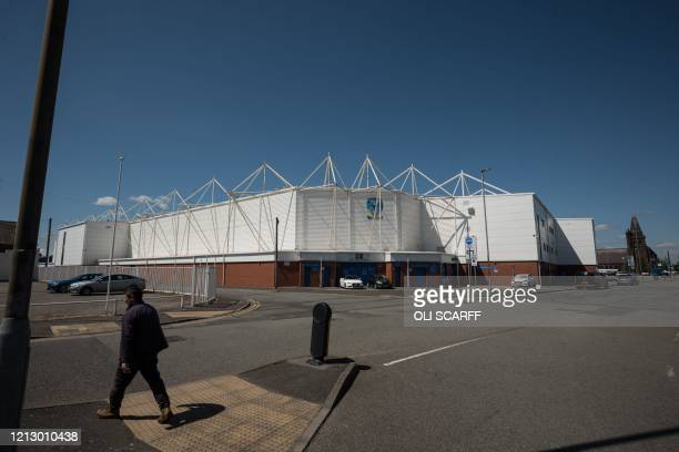 The exterior of the Halliwell Jones Stadium, the home ground of the rugby league side Warrington Wolves, in Warrington, northern England on May 14,...