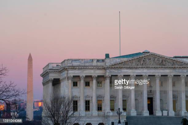 The exterior of the House side of the U.S. Capitol building is seen at sunrise on February 8, 2021 in Washington, DC. The Senate is scheduled to...