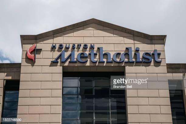 The exterior of the Houston Methodist Hospital is seen on June 09, 2021 in Houston, Texas. Houston Methodist Hospital has suspended 178 employees...