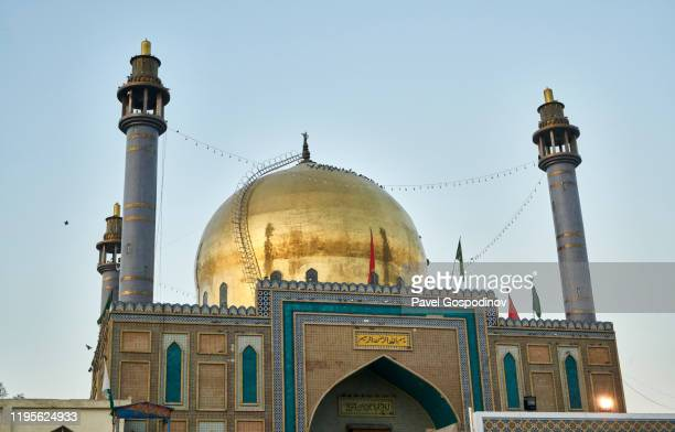 the exterior of the lal shahbaz qalandar shrine in sehwan, pakistan - shrine stock pictures, royalty-free photos & images