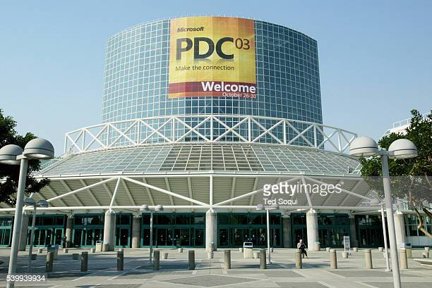 The exterior of the Los Angeles Convention Center is emblazoned with a welcome sign for Microsoft's Professional Developers Conference 2003. Bill...