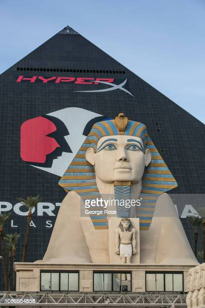 The exterior of the Luxor Hotel Casino and Spinx is viewed from Las Vegas Blvd on December 19 2018 in Las Vegas Nevada During the Christmas and New...