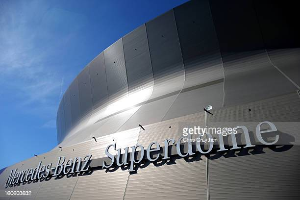 The exterior of the Mercedes-Benz Superdome is seen before the start of Super Bowl XLVII between the San Francisco 49ers and the Baltimore Ravens on...