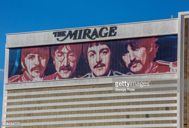 The exterior of The Mirage Hotel Casino featuring a billboard of The Beatles Cirque du Soleil 'Love' show is viewed on March 2 2018 in Las Vegas...