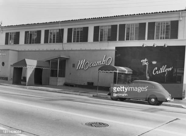 The exterior of the 'Mocambo', a nightclub on Sunset Strip, a stretch of Sunset Boulevard, and the separate 'The Crillon' restaurant, in West...