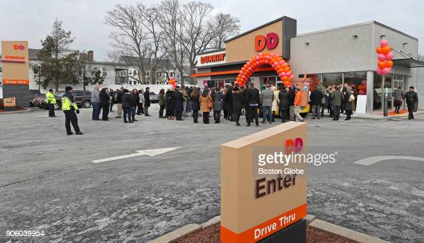 The exterior of the new Dunkin' store in Quincy MA is pictured on Jan 16 2018 The famed local chain debuted the new store with Donuts removed from...