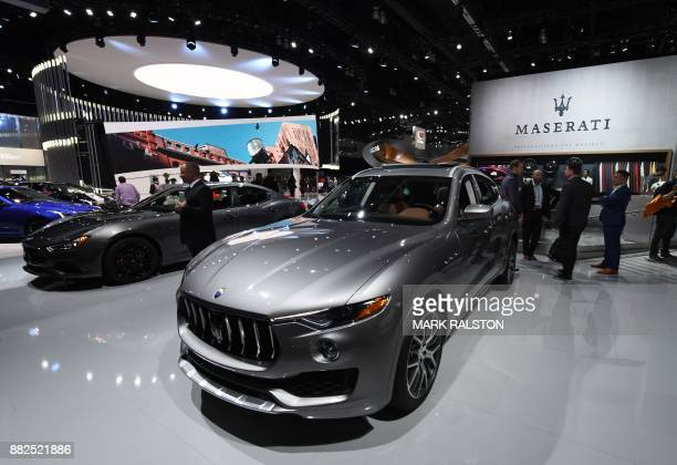 The exterior of the new Maserati Levante SUV on display at the 2017 LA Auto Show in Los Angeles California on November 29 2017 / AFP PHOTO / Mark...