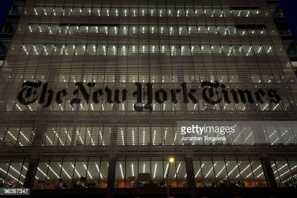 The exterior of the New York Times building designed by architect Renzo Piano on 8th Avenue at 43rd Street May, 2008 in New York City.