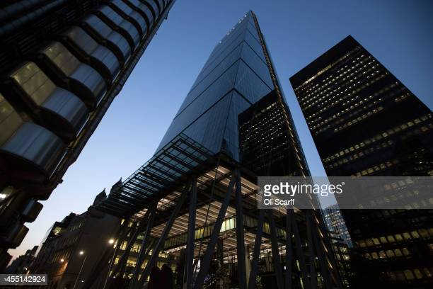 The exterior of the newly constructed skyscraper The Leadenhall Building on September 9 2014 in London England The skyscraper located in the City of...