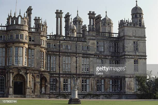 The exterior of the north front of Burghley House one of the largest and grandest mansions of the Elizabethan age Stamford Lincolnshire May 1984