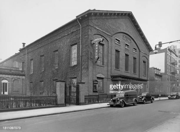 The exterior of the Plymouth Church of the Pilgrims on Orange Street in the Brooklyn borough of New York City, New York, circa 1925.