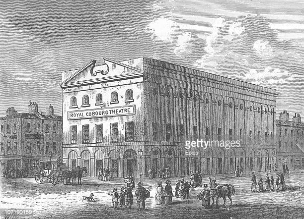 The exterior of the Royal Coburg theatre, later known as the Old Vic theatre, Lambeth, London, circa 1820. The theatre was established in 1818.