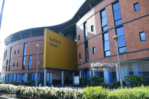 The exterior of the Salford Royal Hospital is pictured in Salford Greater Manchester on May 6 2018 Messages of support continued to pour in as...