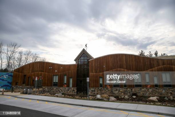 The exterior of the Sandy Hook Elementary School in the Sandy Hook village of Newtown, CT is pictured on March 31, 2019. The new school building was...