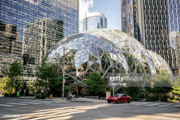 The exterior of The Spheres are seen at the Amazon.com Inc. Headquarters on May 20, 2021 in Seattle, Washington. Five women employees sued Amazon...