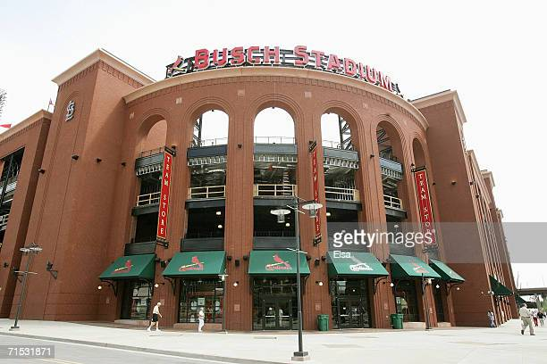 The exterior of the St. Louis Cardinals New Busch Stadium is shown on July 14, 2006 in St. Louis, Missouri.