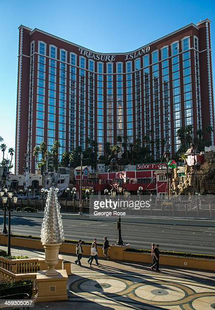The exterior of the Treasure Island Hotel Casino is viewed from The Strip on December 14 2013 in Las Vegas Nevada Tourism in America's 'Sin City' is...