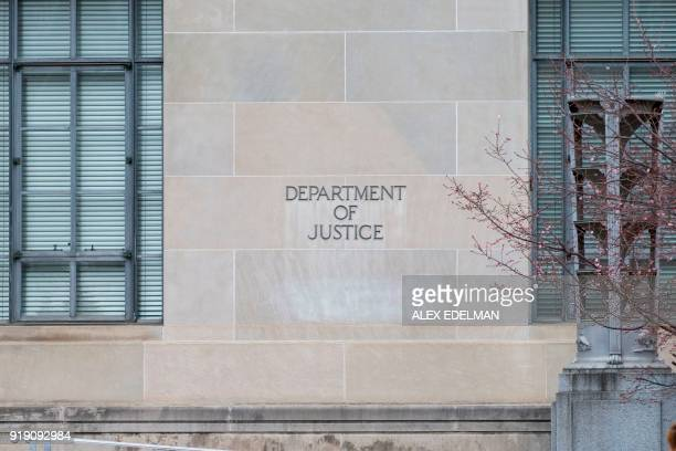 The exterior of the United States Department of Justice on Feb 16 2018 in Washington DC The Justice Departments special counsel announced the...