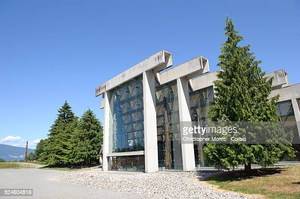 The exterior of the University of British Columbia's museum of Anthropology, designed by architect Arthur Erickson. The museum is home to a vast...