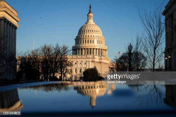The exterior of the U.S. Capitol building is seen at sunrise on February 8, 2021 in Washington, DC. The Senate is scheduled to begin the second...